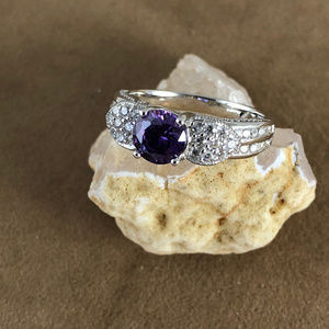 Gem Empourium Jewelry - 2CT Amethyst & White Topaz 925 Silver Ring Size 8